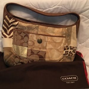 Coach brown signature patchwork satchel
